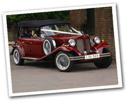 1930 vintage 4 door Beauford wedding car in burgundy