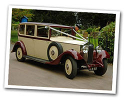 1933 Vintage Rolls Royce wedding car in Cream & Burgundy