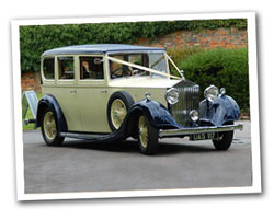 1935 vintage Rolls Royce wedding car in Cream & Blue