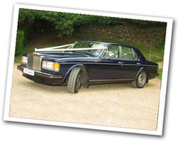 Rolls Royce Silver Sprit wedding car in blue