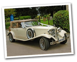 1930 vintage 2 door Beauford wedding car in cream